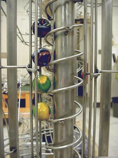 The screw lift of the Mechanical Demonstrator Rolling Ball Sculpture