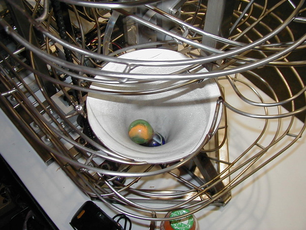 The funnel collector of the Mechanical Demonstrator Rolling Ball Sculpture